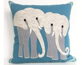 Elephant Safari Pillow in Grey Felt, Teal Cotton Twill and Seafoam Trim