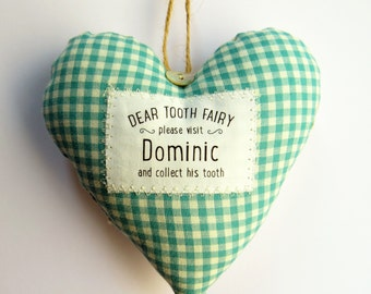 Personalised Tooth Fairy Pillow With Pocket - Choice of Fabric. Child's gift- Supplied Gift Boxed