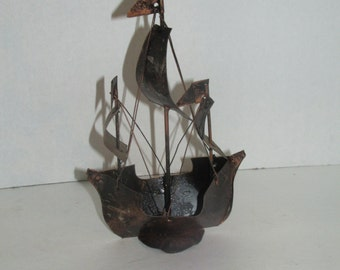 Vintage 7 inch Copper Ship statue - Metal Ship - Nautical - Small Ship