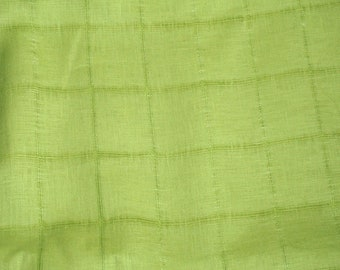 Lime Green Windowpane Cotton Linen Blend Fabric Apparel By the Yard