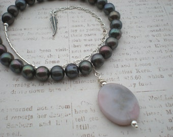 Blackberry twilight beaded necklace, purple ocean jasper, pearls, sterling silver, feather, unique jewelry by Grey Girl Designs on Etsy
