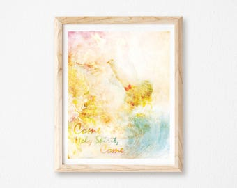 "Holy Spirit Print, Christian Wall Art, Dove Print, Holy Spirit Wall Art, Holy Spirit Print, Dove Art Print, measures 8"" x 10""."