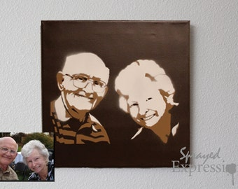 """Customizable Family Portrait Spray Paintings, 12""""x12"""" Canvas - Made to Order"""