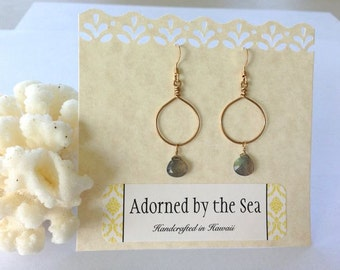 Small 14kt Gold Filled Hoops Adorned with Labradorite Briolette