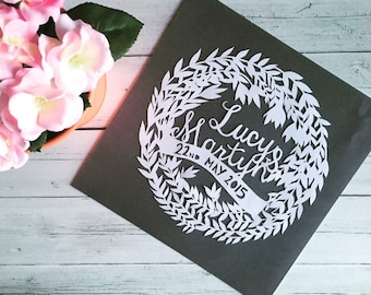 Personalised his and her, couple names, anniversary gift, paper cut, handmade, gift valentines papercut