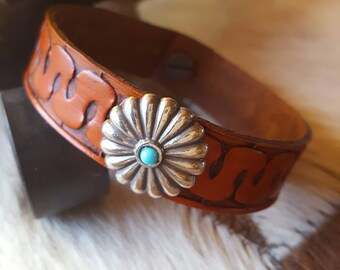 Tan Leather Bracelet - Hand Tooled - Concho - Turquoise - Southwest - Cowgirl Jewelry - Western - Leather Jewelry by Heart of a Cowgirl