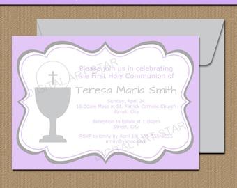 Lavender & Grey First Communion Invitation Template - Printable Girl First Communion Invites - EDITABLE Invitations - Digital Download