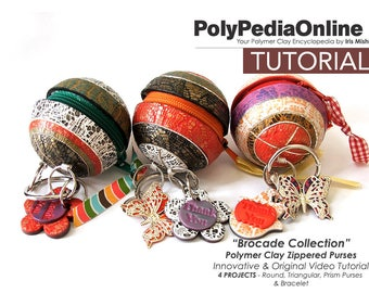Polymer Clay Tutorial, Polymer Clay Charms, PDF, Texture, Video Tutorial, Purse Tutorial, Bag, Fimo, Polymer Clay Gifts, DIY Beads, Handmade