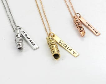 14K Gold Plated Charm Necklace - Personalized -  Custom Name/ Phrase/ Date  - Twist Pendant- bar necklace -Gold / Rose Gold / Silver Plated