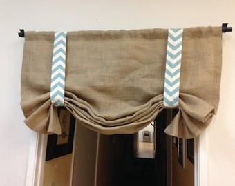 Window valance - Burlap valance - valance-bathroom valance-window treatments-tie up valance-rod pocket valance - bedroom valance- valance