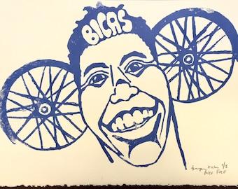 Bike face poster--Screenprinted bike face poster--BICAS screen print poster