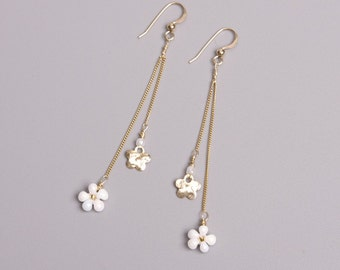 14K Gold Filled Long Dangling Earrings with Textured Gold and White Beaded Daisy Small Charms. Bridal Fringe Flower Earrings. S106