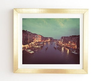 Venice At Night Art Print Ready-to-Hang Framed Wall Art, Gold White Framed Print, Birthday Gift for Intrepid Travellers, Travel Photograph