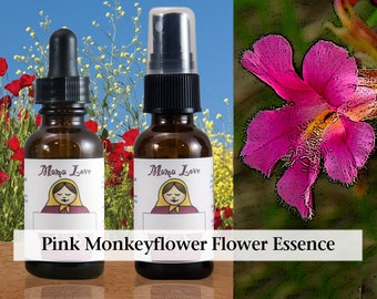 Pink Monkeyflower Flower Essence, 1 oz Dropper or Spray for Feeling Safe to be Yourself in Relationships, Openly Sharing