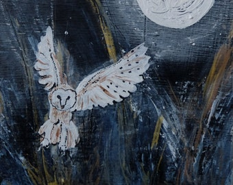 Barn Owl by moonlight 'Moon landing', mounted digital print from an original mixed media painting on board.