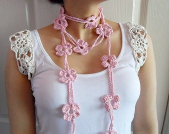Breast Cancer Awareness,Crochet Lariat, Flower scarf, Lariat Scarf, Pink