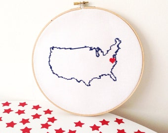 USA Map Cross Stitch Pattern. Easy Embroidery pattern to make United States map poster. Travel theme invitation