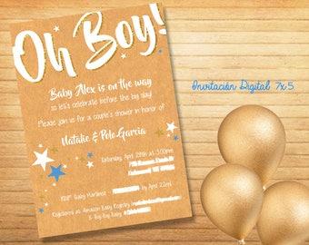 Baby Shower Oh Boy! Invitation Digital