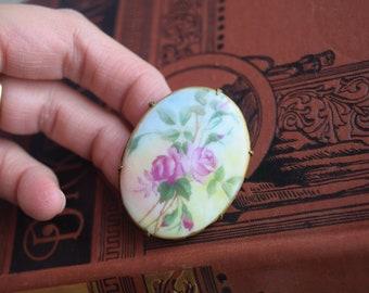 Vintage Porcelain Painted Brooch, Oval Floral Porcelain Pin,