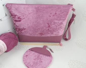 Pink velvet knitting bag, Zipper project bag, Knitting project bag, Yarn bag, Knitters gift, Storage knitting bag, Crochet project bag
