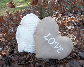 Love Burlap PiIlow Heart Pillow Wedding Decoration Decorative Pillow French Country French Farmhouse Burlap Accent