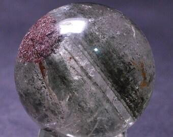 Best Green Phantom Clear Quartz Sphere Included Garden Crystal ball,Scenic Quartz,Multi-inclusions Crystal Ball(Size:38mm,74g)#1042