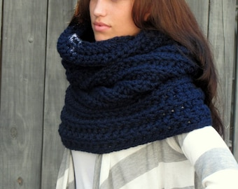 Hooded Cowl Wool Snood Chunky Cowl Womens Scarf Gift for her Shrug Handmade Knit Scarf Noni Tunnel Cowl Navy Blue or Choose Your Color