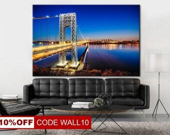 George Washington Bridge, Wall Art, Wal Decor, Canvas Photo, Bridge, Canvas Wall Art, City canvas, Cityscape canvas, City print art
