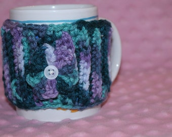 Flower Textured Coffee Mug Cozy