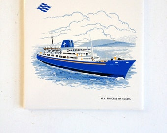 Collectible Tile of the M V Princess of Acadia by Headford Ceramics