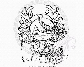 Christmas Tangle DIGITAL STAMP Instant Download