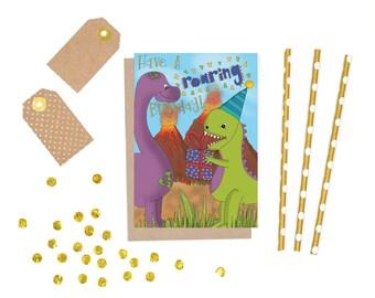 dino-dinosaur birthday-dino card-boy-rainbow-dinosaur-party-dinosaur party-happy birthday-boys birthday-purple-green dino-jungle-volcano