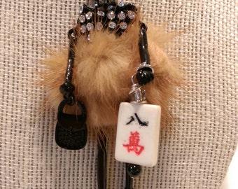 Mahjongg or BUNCO necklace Mah jong jewelry BUNKO or Ma jong hostess or holiday gift