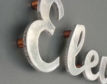 """Written text Script House sign in polished aluminium 3""""/75mm high, sign locators for easy installation g"""