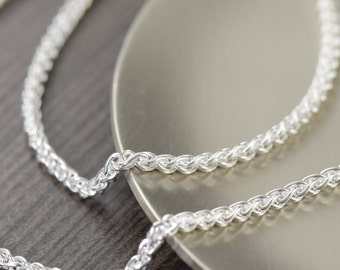 Unisex Wheat Chain sterling silver chain necklace Woven Italian finished chain 2mm thick