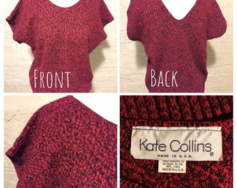 Vintage 80s Sweater - Red and Black - Brand: Kate Collins