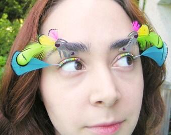 Flashy Heels Eyelash Jewelry - neon feather eyelashes for drag, festivals,