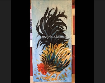 """11"""" X 24"""" #421 Fluff Tail Colorful Rooster Art on Rustic Wood"""