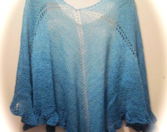 Blue Ruffled Lightweight Shawl in Blue-Faced Leicester Wool