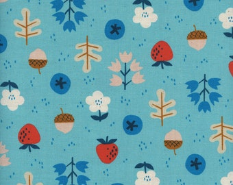 Welsummer Forage in Bright Blue, Kim Kight, Cotton and Steel, RJR Fabrics, 100% Cotton Fabric, 3059-01