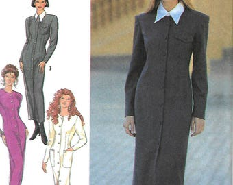 Style 2347 Misses Button Front Slim Dress Pattern, With Or Without Collar, Size 8-18, UNCUT