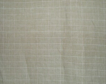 SPECIAL--Sage Green Windowpane Check Pure Linen Fabric--One Yard
