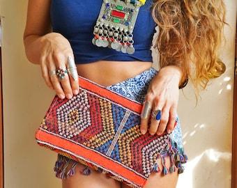 Boho Moroccan Leather Ethnic Textile Kilim Carpet Clutch