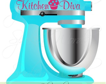 """Kitchen Diva Mixer Decal Decoration...Vinyl Decal for Stand Up  Mixer Kitchen Appliance.....Your choice of color"""""""