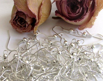 X 50 (25 pairs) silver wire hooks