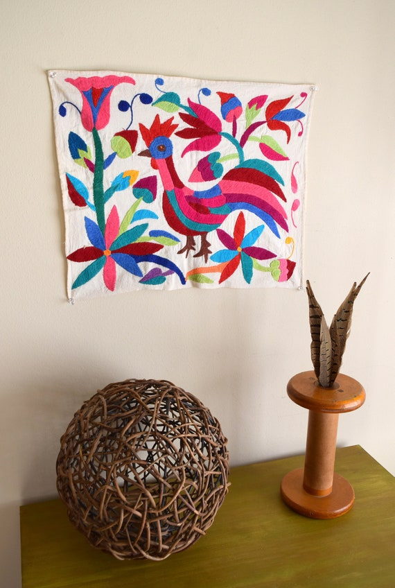 Vintage Handmade Mexican Embroidery Folk Art Panel / Otomi Wall Hanging / Tapestry ~ Folk Art, Boho, Natural