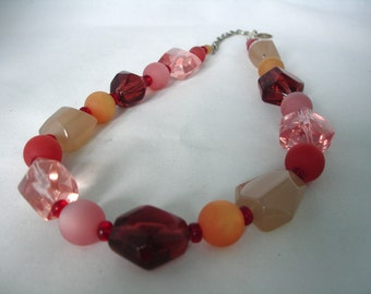 Shades of Red and Yellow Necklace - Round, Nuggets Beads- Polaris Beads - Fashion Jewelry - Glass - Acrylic Beads - Summer Necklace