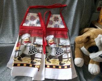 Hanging Printed Kitchen Terry Tie Towels, Patriotic Pinwheels Print Top