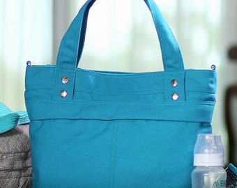 Mother s Day Big Sale CALLA / Medium / Teal / Lined with Beige / Ready to ship / Diaper bag / Shoulder bag / Tote bag / Purse / Gym bag / Ne