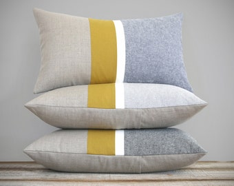 Chambray and Mustard Yellow Striped Lumbar Pillow | Minimal Home Decor by JillianReneDecor (Custom Colors Available) Honey Gold